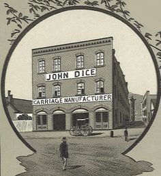 """John Dice was an early carriage and wagonmaker located on 2nd and Jefferson Sts. At one time, the (police) patrol wagon was being repaired at the Dice Carriage Company. The newspaper reported that extra precaution was taken to not let anyone know that the """"wagon was at the factory for repair for fear the regular drunks would take advantage of the fact""""."""