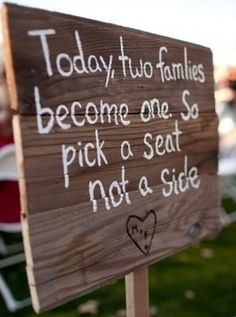 Cute idea but hopefully the immediate family has already met eachother! wedding signs | Rustic wedding sign.
