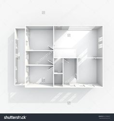 3d interior rendering of empty paper model home apartment