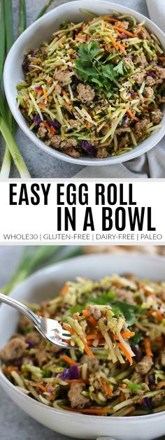 Easy Egg Roll in a Bowl is a one-dish recipe that's made in less than 30 minutes and is chock full of all. It's friendly, dairy-free, grain-free and paleo. Easy Egg Roll in a Bowl Easy Egg Roll in a Bowl Egg Roll Recipes, Whole 30 Recipes, Paleo Recipes, Real Food Recipes, Free Recipes, Dinner Recipes, Pescatarian Recipes, Gluten Free Egg Rolls, Dairy Free Eggs