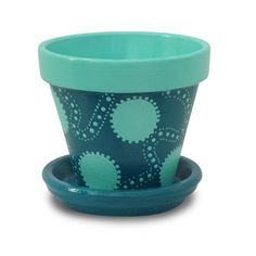 """Hand Painted Flower Pot  """"Aqua Dots"""" Whimsie Pot by Michele Cordaro Design, $16.00. http://MicheleCordaroDesign.etsy.com"""