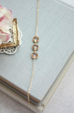 Klarglas-Hochzeit-Armband. Pfirsich Sekt Armband von Marolsha