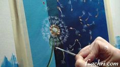 How to paint a simple dandelion with liquitex acrylic paint and an Iwata...