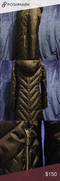 """Michael Kors long puffer coat Worn a few times, excellent condition! No signs of wear other than little scratches mainly on the lower buttons. Didn't realize I bought the wrong size, thought the tag said L but it's S. It fits tight and snug on me, feels like a Medium. Measurements: 35"""" length, 26.5"""" sleeves, 39"""" bust. Not sure if it's supposed to run large. I'm normally sizes M/L and my measurements are 39-30-40 If that helps. Just don't need it anymore. No trades or lowball offers please…"""