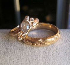 Custom his and hers rustic gold diamond rings made from old bands that were  melted together 803cb2972a4