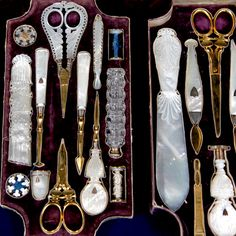 1840 French silver & mother of pearl travel set: dressing & grooming accessories, thimble, porcelain teacup & saucer, etc.