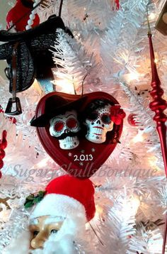 Day of the Dead, First Christmas Ornament,  Anniversary, Wedding Gift, Mustache Groom, Sugar Skull Bride Cake Topper, Skull Wedding on Etsy, $25.00