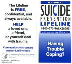 With Help Comes Hope. Suicide Warning Signs.  Link to order free wallet card.