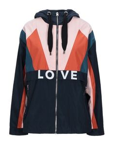 Techno fabric Print Multicolor pattern Single-breasted Zip Hooded collar Multipockets Long sleeves Fully lined Maje Clothing, Single Breasted, World Of Fashion, Mantel, Motorcycle Jacket, Adidas Jacket, Hoods, Dark Blue, Jackets For Women