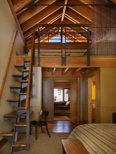 Bedroom Photos Design Ideas, Pictures, Remodel, and Decor - page 27  I would fall just looking at the staircase much less trying to go up.