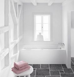 The Kaldewei Cayono Rectangular Steel Bath is created with a style-oriented design and timeless quality to set a new standard for functional baths. 3d Bathroom Planner, Built In Bath, Steel Bath, Baths Interior, White Bathroom, Interiores Design, Bathroom Inspiration, Tile Floor, Bathtub