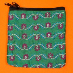 Green hand embroidered India ethical purse by SaheliDesigns