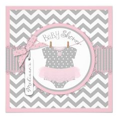 Pink Tutu & Chevron Print Baby Shower Personalized Announcement