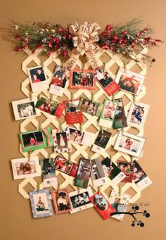 Lattice Christmas card display...can be used all year round by changing topper...for birthdays, school pics, etc.