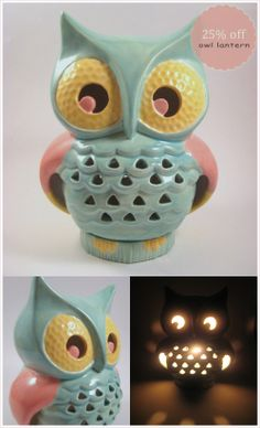 Vintage Ceramic Lantern is available in - white, pink, turquoise, pink and yellow, pumpkin orange, orange, green and brown and kiwi green.  The owl Hand crafted from a 60's vintage mold, each ceramic owl is fired, hand painted and fired once more to a glass finish. Made up of two pieces, the bottom piece twists off to place an LED votive candle inside, included.