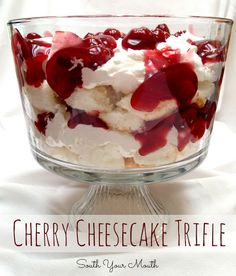 Good for tailgating or potlucking!!  Can make with any kind of canned fruit!  Super quick, and very easy to make!  Cherry Cheesecake Trifle {EASY!}
