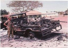 This truck were hit on the fuel tank by a 202 Bn Mag gunner from a Buffel on 24 August 1981 Xangongo