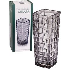 Celebrations by Mikasa® Gray Basketweave Bud Vase (17 CAD) ❤ liked on Polyvore featuring home, home decor, vases, colored glass bud vases, gray vase, round glass vase, colored glass vases and round vase