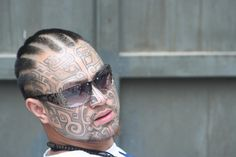 Inspiring Black Ink Tribal Face Tattoo For Men Face Tattoos For Men, Tattoos For Guys, Tribal Face Tattoo, Stepping Out, Skull, Ink, Inspiration, Black, Biblical Inspiration