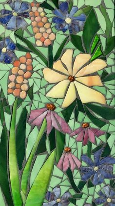 Flower Garden Mosaic Art~Made To Order~ Whimsical Garden Stained Glass Mosaic Wall Art Glass Framed Flower Art Mosaic Garden Art, Mosaic Tile Art, Mosaic Flower Pots, Mosaic Artwork, Mosaic Glass, Mosaic Mirrors, Mosaic Drawing, Mosaic Art Projects, Mosaic Crafts