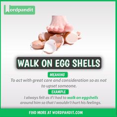 Idiom of the day: Walking on Eggshells Slang English, English Speech, English Idioms, English Phrases, English Lessons, Interesting English Words, Learn English Words, Good Vocabulary Words, Advanced English Vocabulary