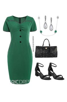 A green st. Patrick's day plus size work outfit inspiration. Items by SHEIN, Shoebacca, Carolyn Pollack, and more! Cute Dresses, Dresses For Work, Chic And Curvy, Plus Size Work, Candy Stripes, Famous Brands, Green Dress, Work Wear, Plus Size Fashion