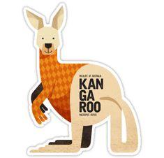 'Retro Kangaroo' Sticker by printedsparrow Australian Nursery, Australian Animals, Australian Art, Animal Nursery, Nursery Art, Kids Decor, Art Decor, Platypus, Wombat