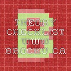 Theory Checklist www.brocku.ca
