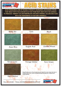 Decorative Concrete Floors Supply offers its own line of concrete acid stains offering 10 unique colors.