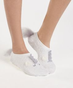Fluffy sparkly no show socks - 2