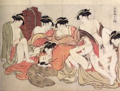 Shunga (春画) is a Japanese term for erotic art.  Most shunga are a type of ukiyo-e, usually executed in woodblock print format