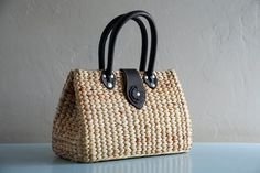 Handwoven straw tote// picnic tote// straw purse with leather straps (Mackenzie tote)