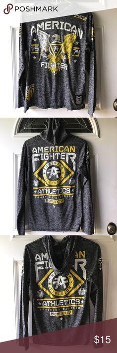 Long Sleeve Hooded Tee Super cool black heather long sleeve hooded tee!! American Fighter Shirts & Tops