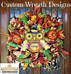 Harvest Whimsical Owl Wreath by lilmaddydesigns on Etsy