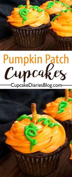 Pumpkin Patch Cupcakes – 30 Days of Halloween 2016: Day 14 | Cupcake Diaries | Bloglovin'