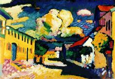 """Murnau. A Village Street 1908. Oil on cardboard. 18.9 × 27.4"""" (48.0 × 69.5 cm)  Switzerland. The Merzbacher collection"""