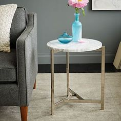 "Guest Bedroom #2 Nightstands 13""d x 18.75""h, $250 Overlapping V Side Table #westelm"