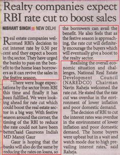RBI's decision to cut interest rate by percent is likely to boost Real Estate business. Real Estate Business, Interest Rates, The Borrowers, Feelings, News