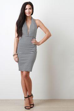 Thin Stripe Halter Midi Dress