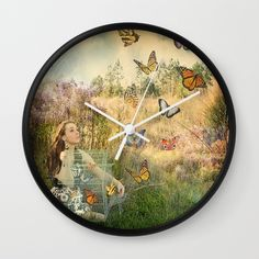 Release of the butterflies Wall Clock, butterfly art, butterfly decor, tara richelle art
