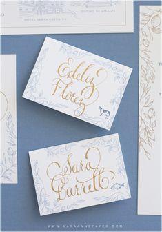 Calligraphy Place Cards by Kara Anne Paper www.karaannepaper.com