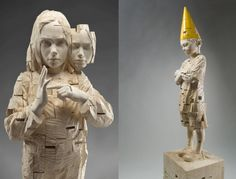 Disturbing wood carvings of children by Gehard Demetz.