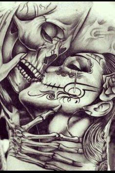beautiful chest tattoo of life winning over death Kiss Tattoos, Sweet Tattoos, Body Art Tattoos, La Muerte Tattoo, Catrina Tattoo, Sugar Skull Tattoos, Sugar Skull Art, Forearm Sleeve Tattoos, Arm Band Tattoo