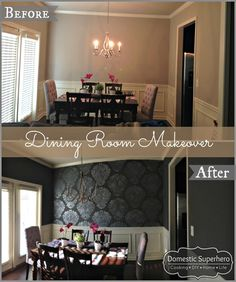 Dining Room Makeover - Subtle patterns and deep colors.