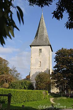 Tower of Holy Trinity Church at Bosham in Chichester Harbour. West Sussex. England