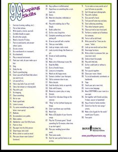 99 coping skills poster - Here is a list of 99 coping skills that a student can use to make choices and use as a strategy in helping with disregulated emotions. Have your student make a list of coping strategies that they can keep with them as visual supports when they start to feel uncomfortable or stressed.