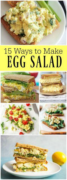 15 Ways to Make Egg Salad : Classic Egg Salad Sandwiches, Curry Egg Salad Sandwiches, Tuna Egg Salad, Avocado Egg Salad and more!  Lots of Egg Salad Sandwich recipes!