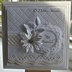 Another card for you, Ive used Spellbinders grand squares as my base layers, Sue Wilson heart lattice embossing folder, Spellbinders A2 bracket border, Spellbinders Asian accents, Spellbinders foliage, Spellbinders vintage labels three, Spellbinders delicate asters, Martha stewart garden trellis punch, Sentiment is from just rite