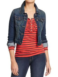 Womens Cropped Denim Jackets | Old Navy - Denim jacket with the white dress for me.