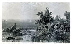 antique new england coast photos  | On the Beverly Coast, Massachusetts . Steel engraving $75